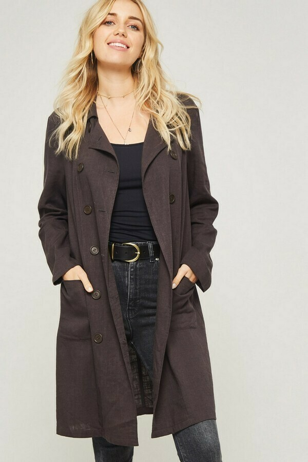 Solid Woven Trench Coat w/ Pockets