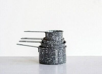 Grey Enameled Splatterware Measuring Cups