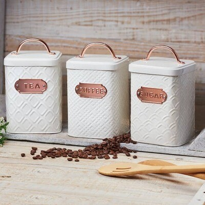 Embossed White & Copper Canisters