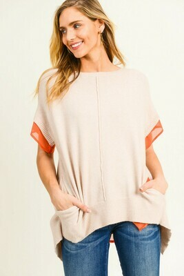 Chiffon Layered Short Sleeve Knit Top Large