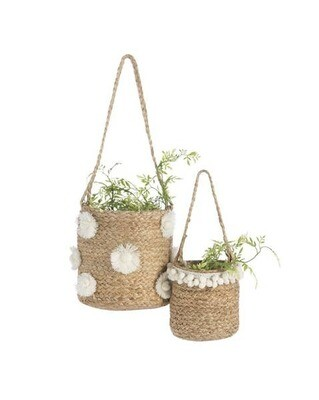 Natural Woven Hanging Planters