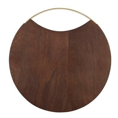 Round Wood & Brass Board