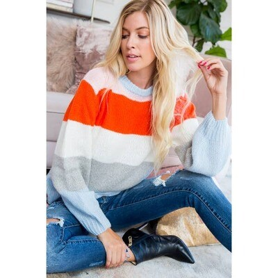 Horizontal Stripe Colorful Sweater
