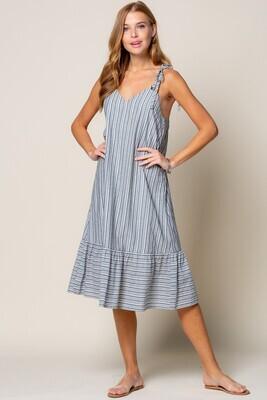 Weave Stripe Ruffle Hem Dress