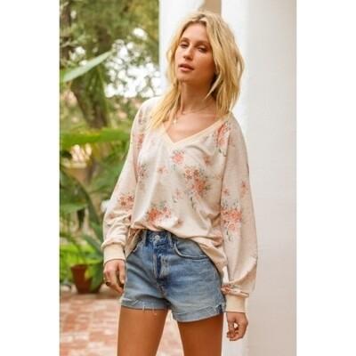 Floral Print Wide Neck Sweatshirt
