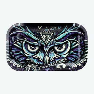 V Syndicate First Earth Owl מגש גלגול מתכתי בנוני דגם