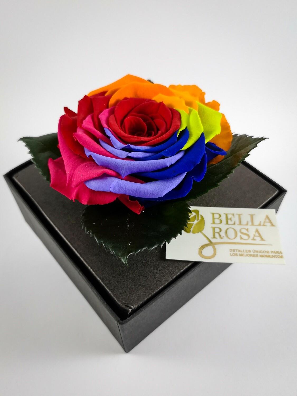 Rosa Preservada Arcoíris Caja Acrílica