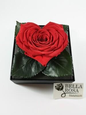 Rosa Preservada Roja en Forma de Corazón Caja Acrílica