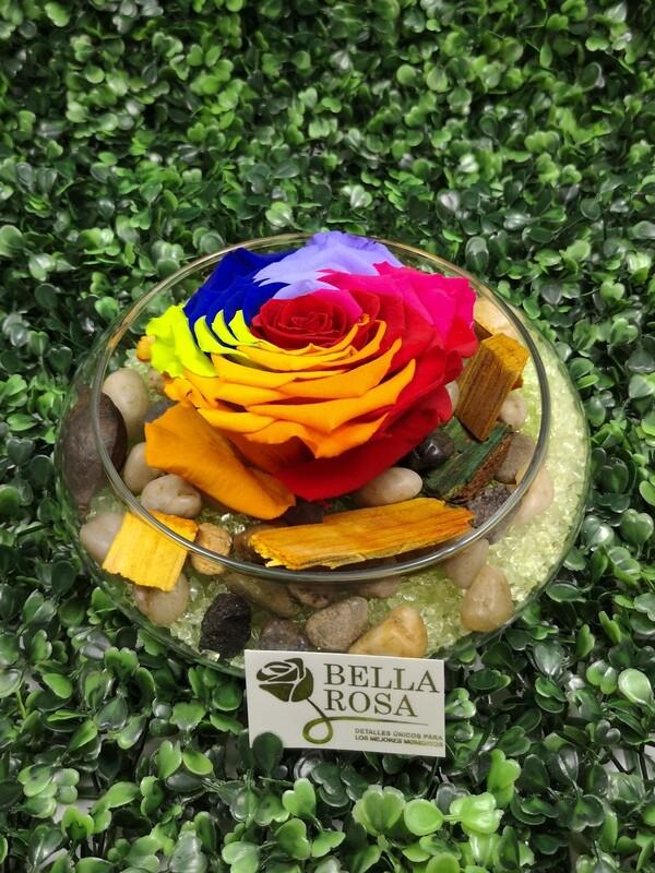 Rosa Preservada Arcoíris en Base de Vidrio