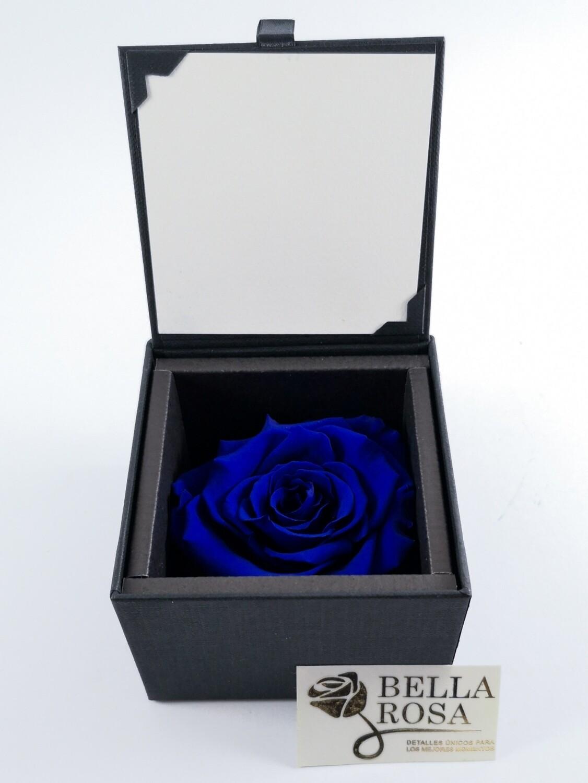 Rosa Preservada Azul en Caja Negra Elegante