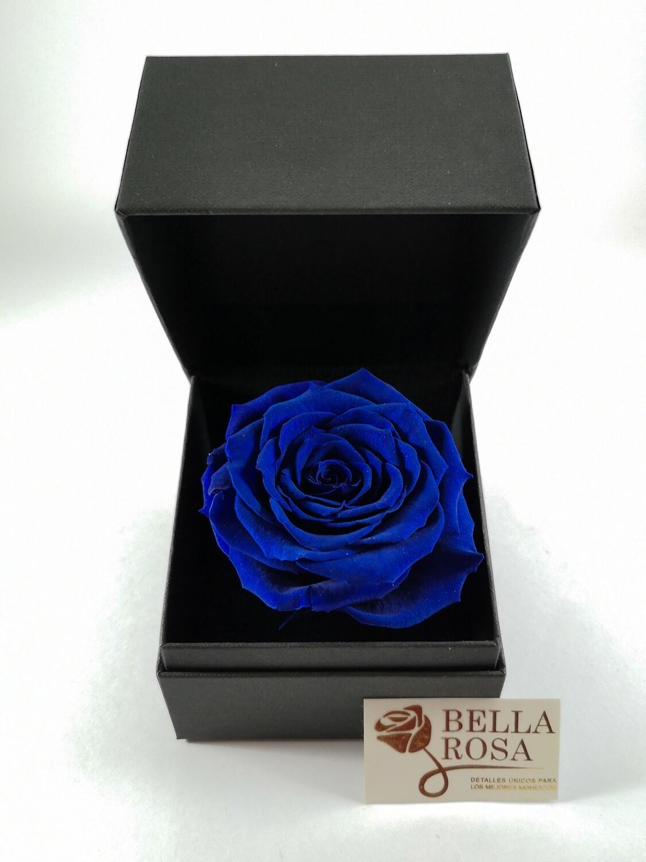 Rosa Preservada Azul (9.5x 9.5cm) en Caja Negra Elegante( 9x 8 cm)