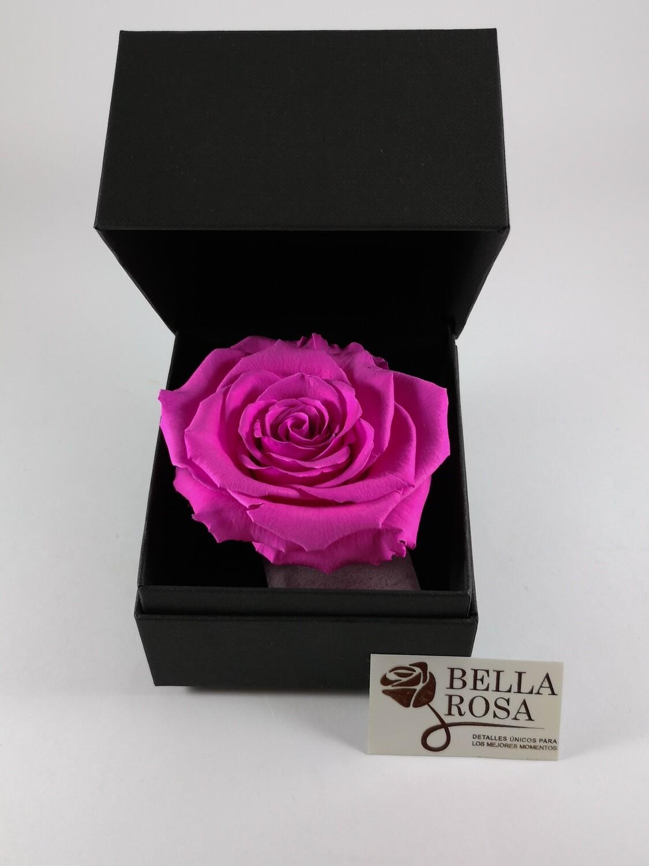 Rosa Preservada Rosada ( 9x8cm) en Caja Negra Elegante (9.5x9.5cm)