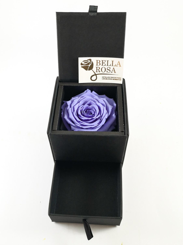 Caja elegante con gaveta ( 10 x9 cm ) rosa natural preservada, color lila (7x7 cm )