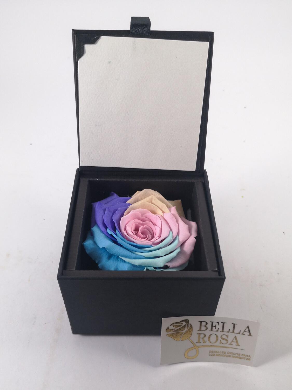 Rosa preservada multicolor pastel en caja acrílica elegante 8.5 cm x 8.5 cm