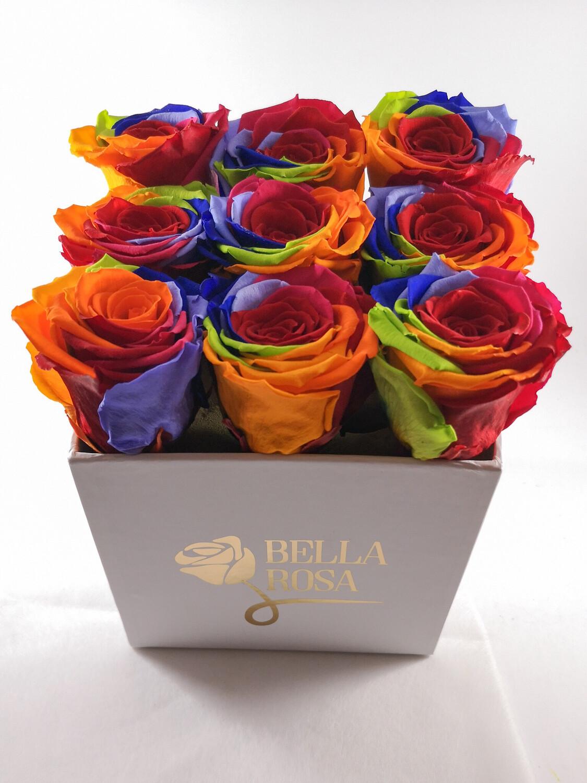 Caja con 9 rosas preservadas color arcoíris