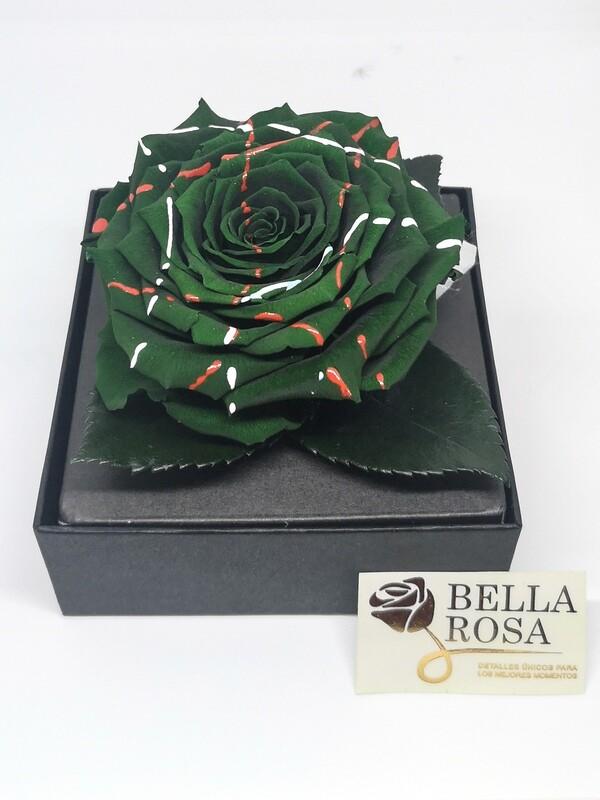 Rosa Preservada Verde con Lineas de Colores en Caja Acrílica
