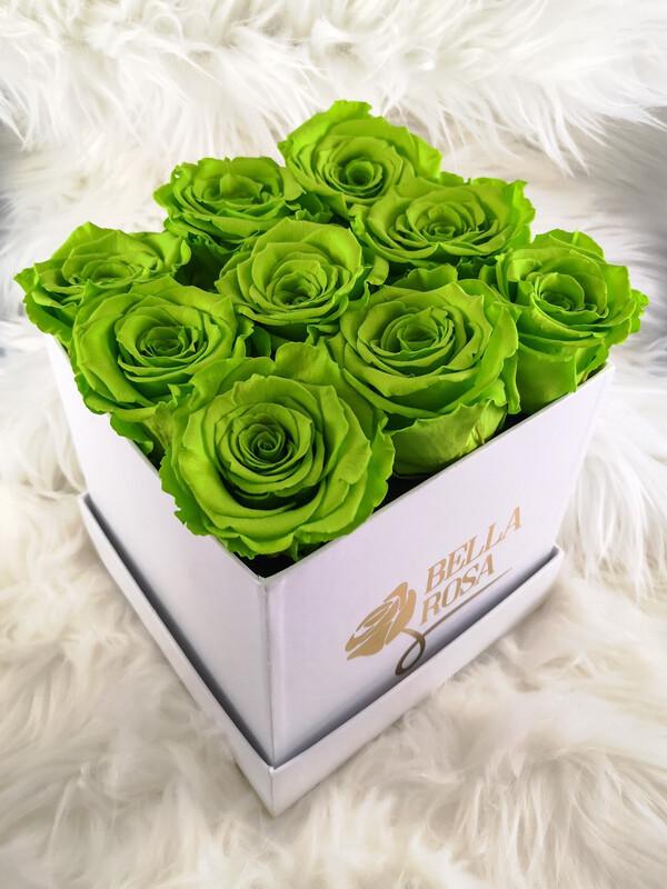 9 rosas preservadas, caja cuadrada o redonda, blanca, negra o rosada