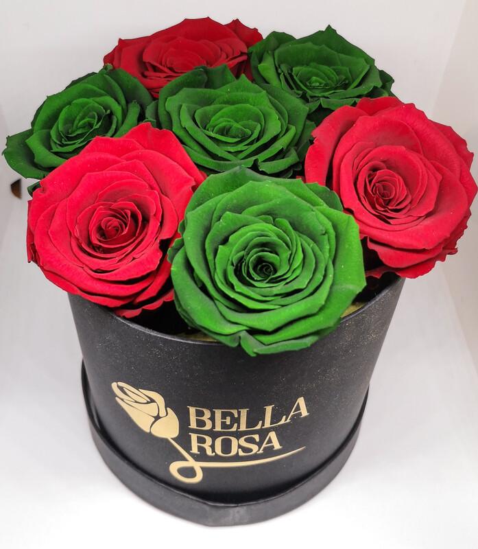 8 rosas preservadas, caja redonda, cuadrada, blanca, negra o rosada