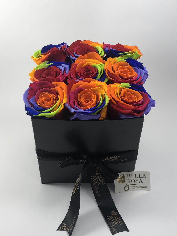 Caja con 9 rosas preservadas multicolor