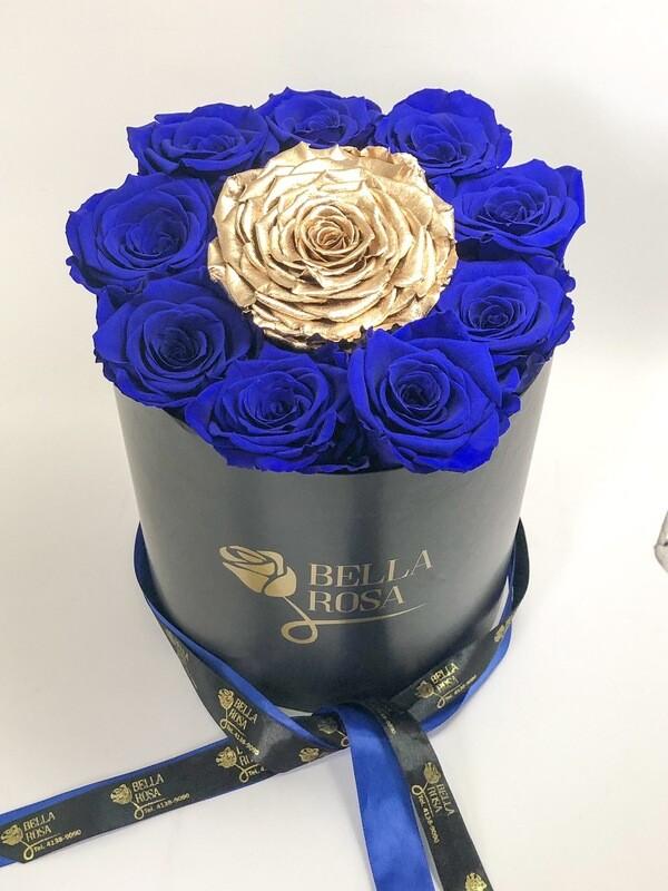 Caja redonda con 9 rosas preservadas XL y 1 XXL