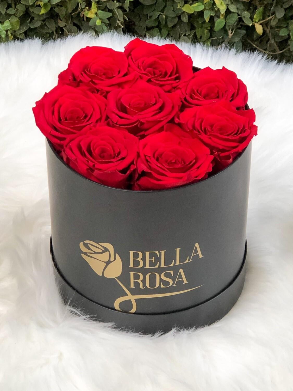 Caja redonda, negra o blanca, 7 rosas preservadas