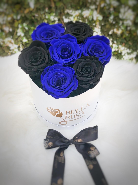 Caja redonda con 7 rosas preservadas