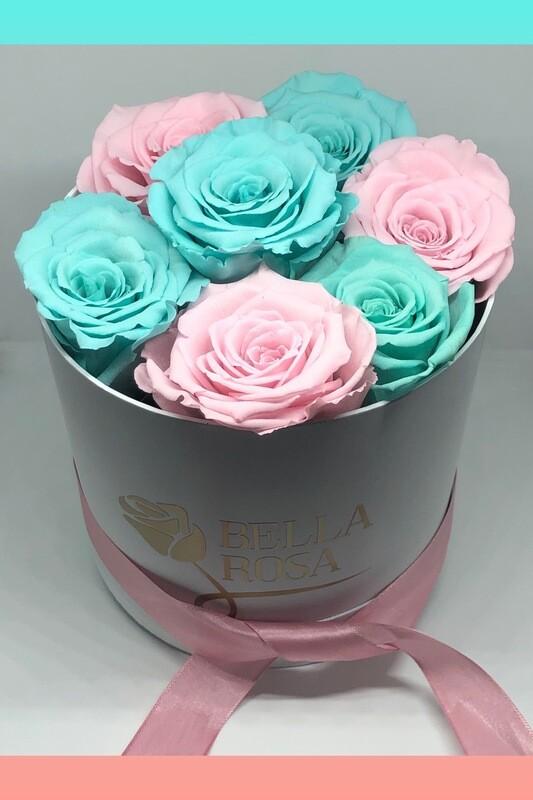 Caja redonda blanca o negra con 7 rosas preservadas tamaño XL
