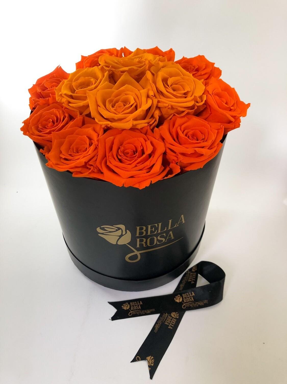 Caja redonda blanca o negra con 13 rosas preservadas