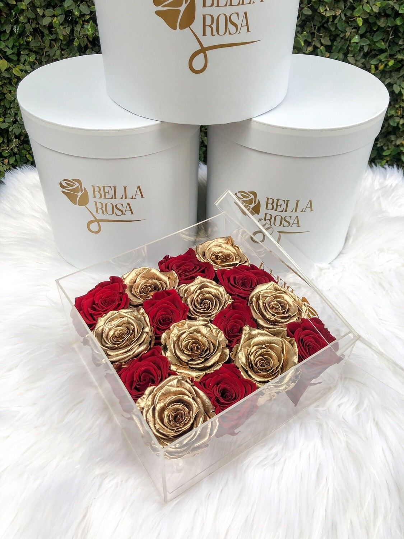 Caja Primium con 16 rosas preservadas