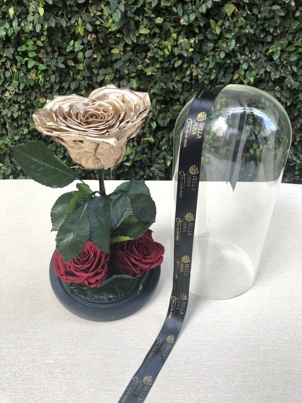 Cúpula de cristal de de 25 cm de alto. Rosa preservada en forma de corazon más dos rosas tamaño Xl