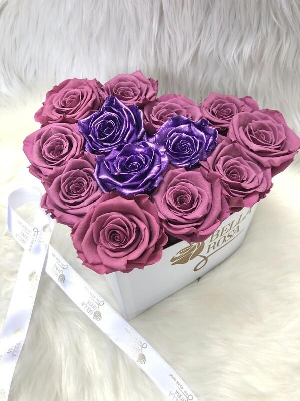 Corazon con 13 rosas preservadas
