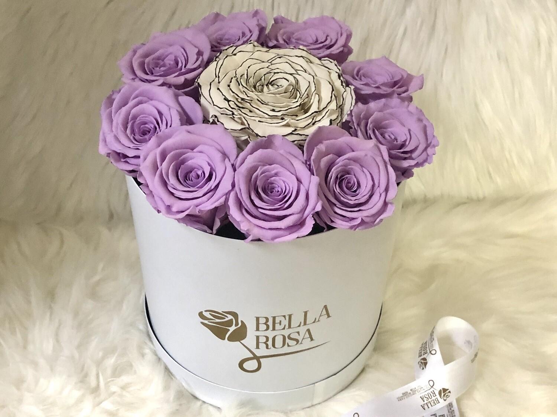 Caja con 9 rosas tamaño Xl y una XXl