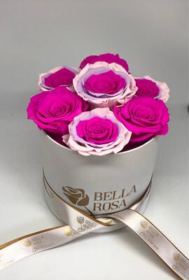 Caja redonda con 8 rosas preservadas
