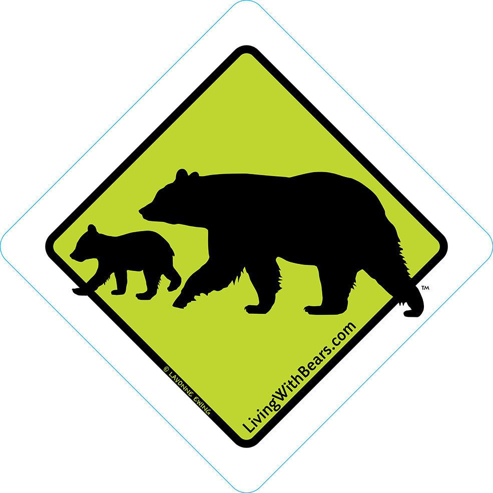 Black Bear Sign Artwork - Mama Bear & Cub (GREEN)