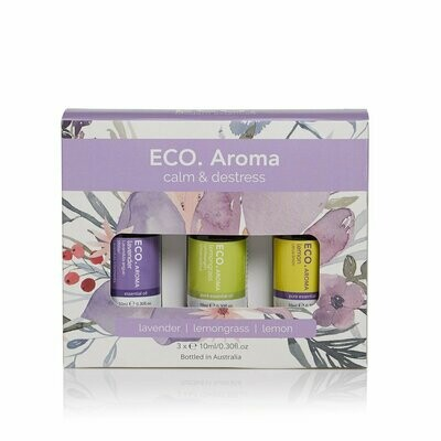 ECO. Calm & Destress Aroma Trio (Lavender, Lemon, Lemongrass)