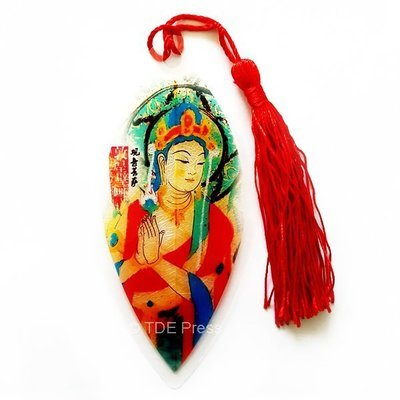 Chinese Ink Bodhisattva Bookmark With Red Tassel