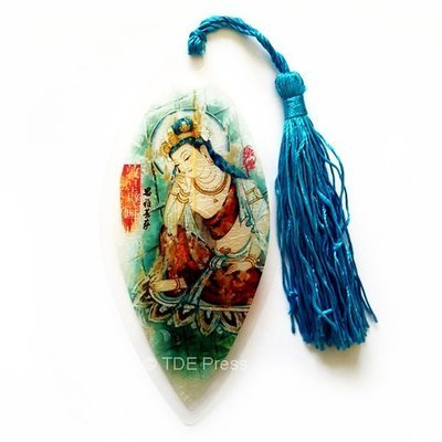 Chinese Ink Bodhisattva Bookmark With Blue Tassel