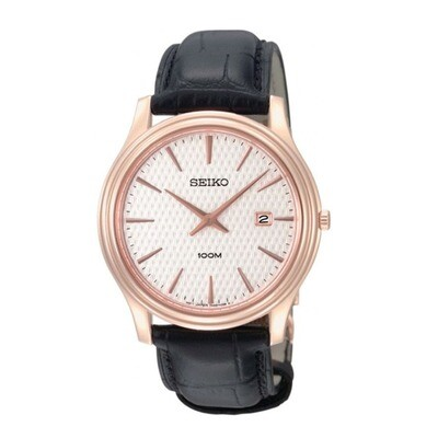 Seiko SKP352P1 Gents Quartz Rose Gold Plated Strap Watch