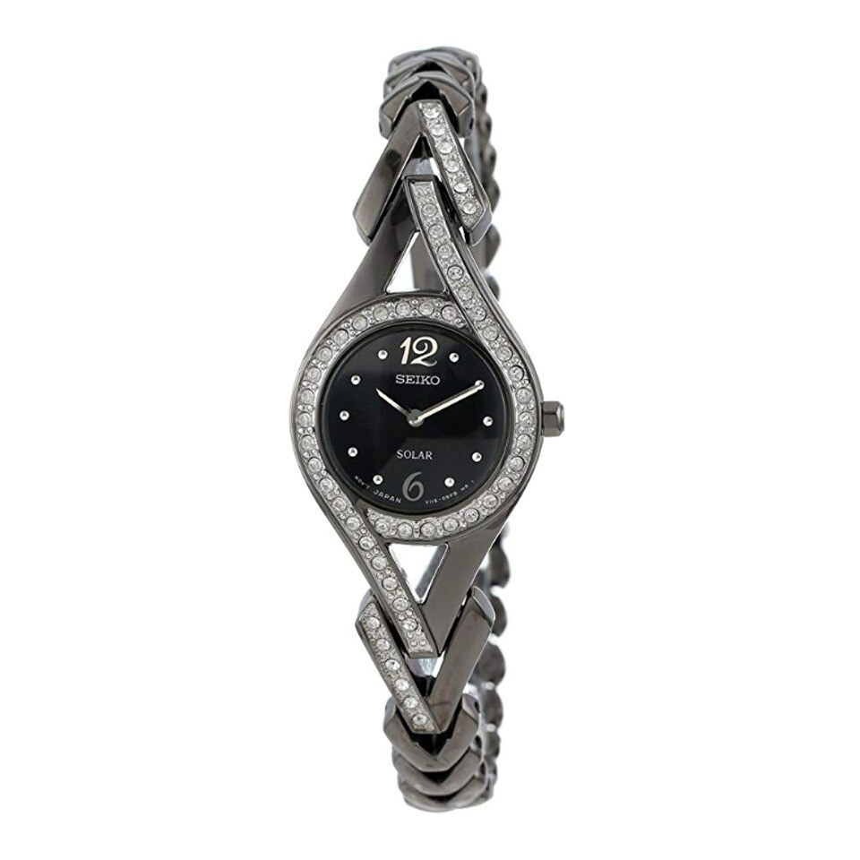 Seiko SUP177 Ladies Solar Quartz Black Ion Plated Watch