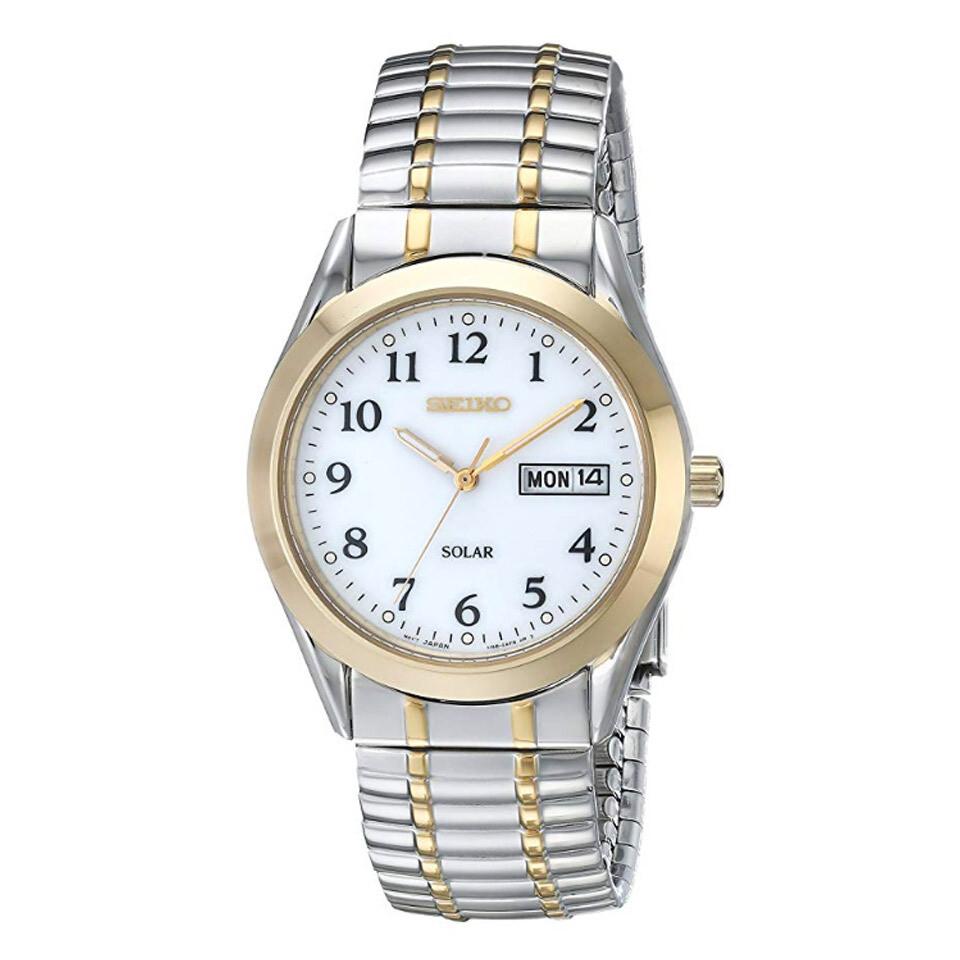 Seiko SNE062P9 Gents Quartz Solar Quartz Stainless Steel Bi-Colour Watch