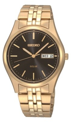 Seiko SNE044P9 Solar Quartz Gold Plated Watch