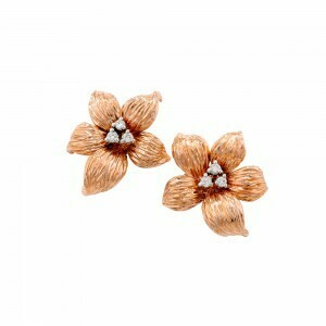 Exclusive Rose Gold And Diamond Lily Stud Earrings