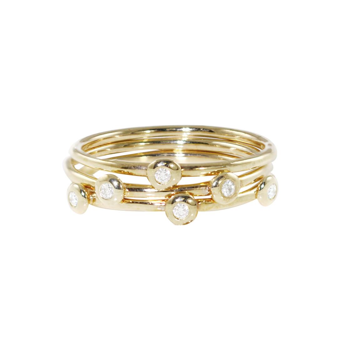 Elegant Raindrop Yellow Gold Diamond Stacking Rings