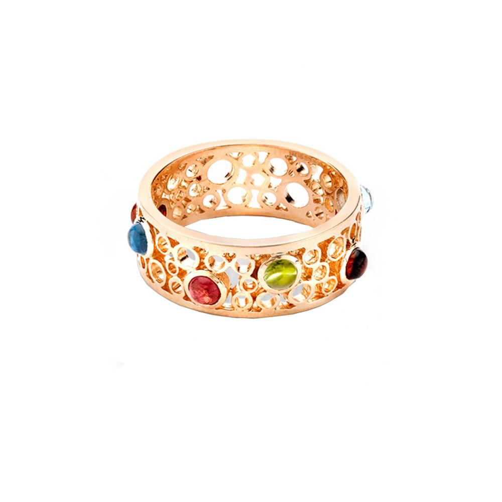 Handmade Bubble Multi Gem Rose Gold Ring
