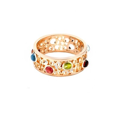 Handmade Bubble Multi Gem Rose Gold Ring