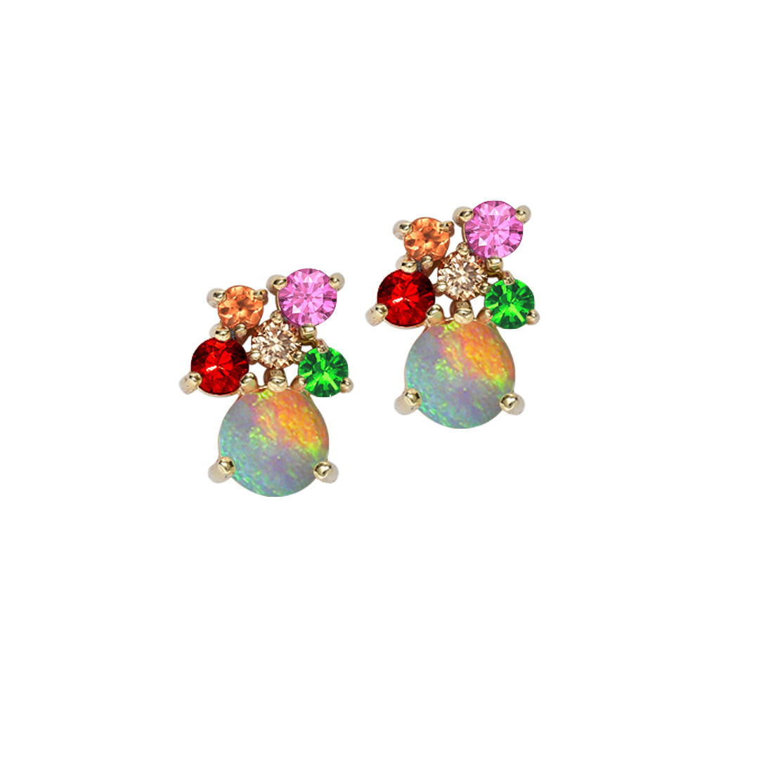 Harlequin Multi-Gem Opal Earrings In Yellow Gold