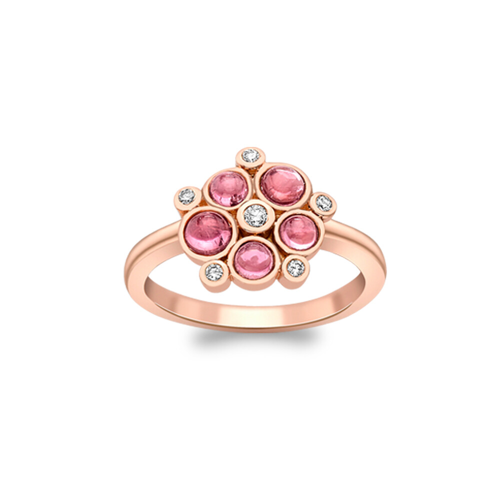 Stunning Rose Gold Diamond And Pink Tourmaline Bubble Ring