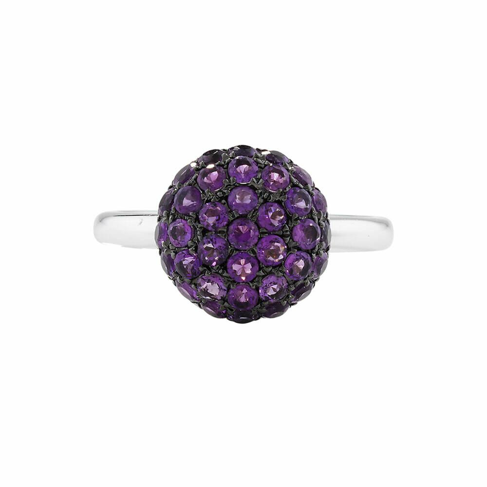 Luxury White Gold Amethyst Ball Ring