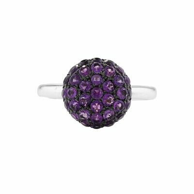 Luxury White Gold Amethyst Ball Ring