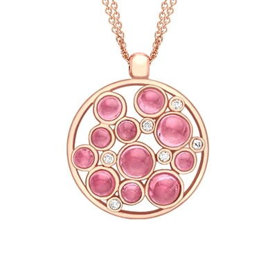 Modern Rose Gold Diamond And Pink Tourmaline Bubble Cluster Pendant Necklace